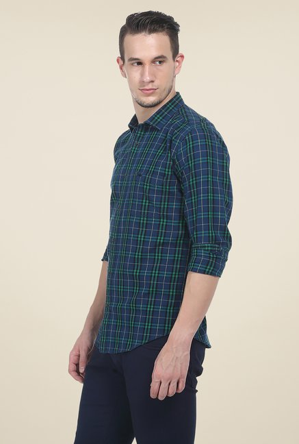 Basics Green & Navy Checks Slim Fit Cotton Shirt