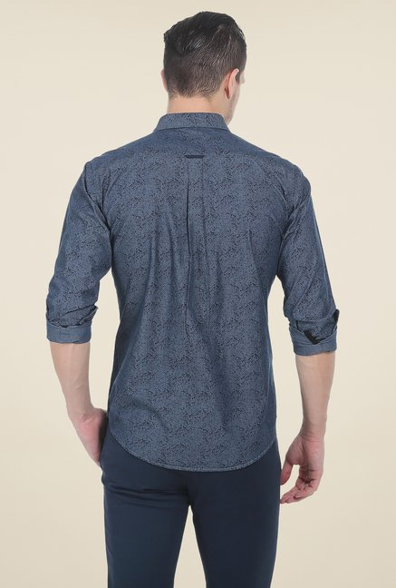 Basics Blue Printed Full Sleeve Cotton Shirt