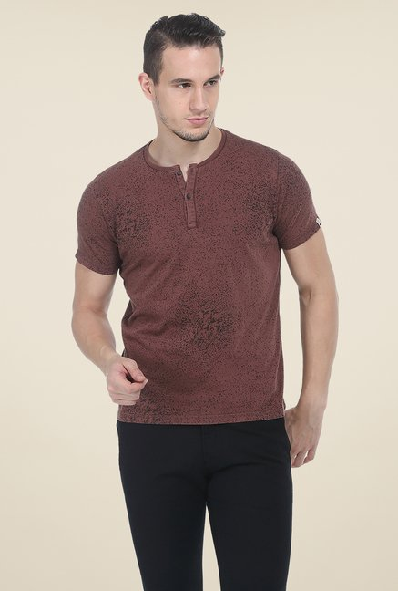 Basics Brown Printed T Shirt