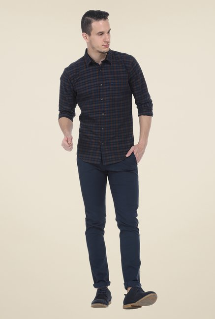 Basics Brown & Navy Checks Shirt