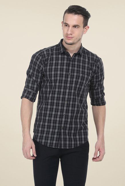 Basics Black Checks Slim Fit Cotton Shirt