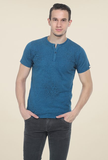 Basics Teal Printed T Shirt