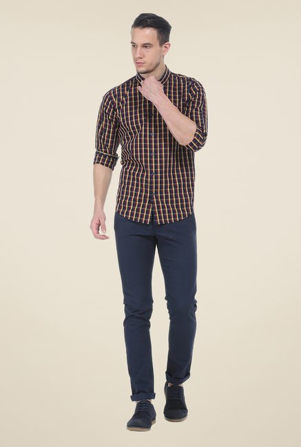 Basics Multicolor Checks Slim Fit Cotton Shirt