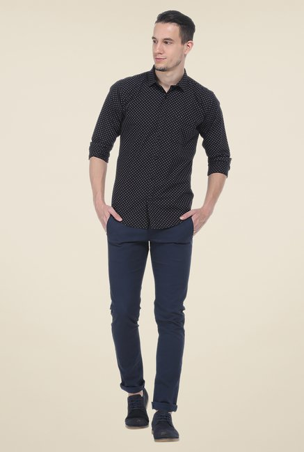 Basics Black Printed Slim Fit Shirt