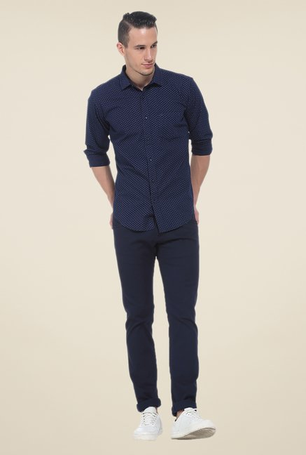 Basics Navy Printed Slim Fit Cotton Shirt
