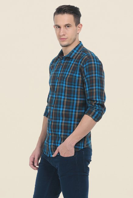 Basics Blue Full Sleeve Cotton Shirt