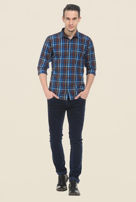 Basics Brown & Blue Checks Shirt