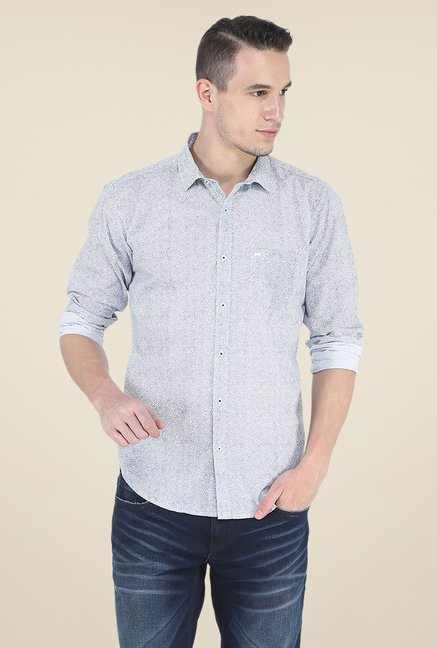 Basics Blue Printed Shirt