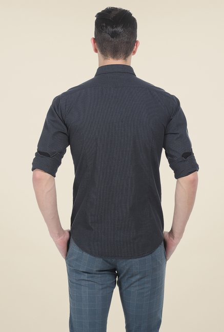 Basics Grey Textured Slim Fit Full Sleeve Shirt
