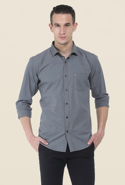 Basics Dark Grey Self Print Shirt