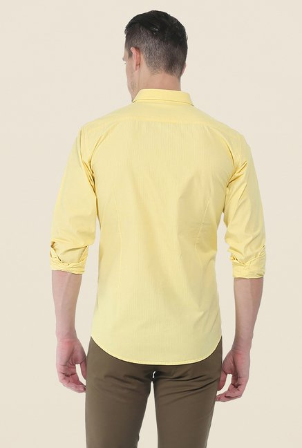 Basics Yellow Self Print Shirt