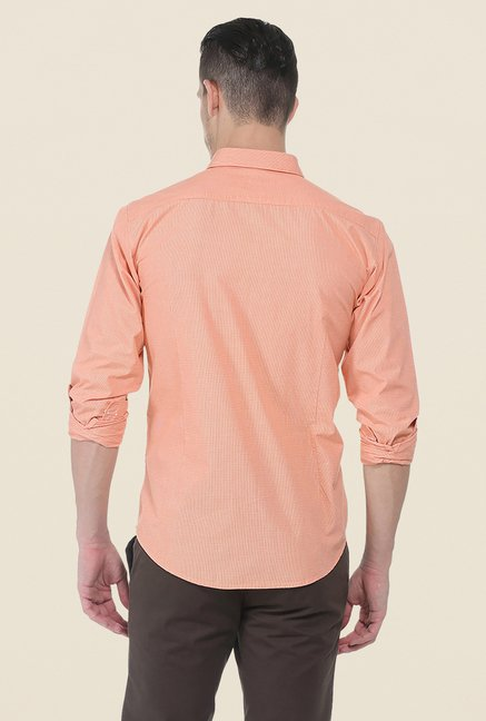 Basics Orange Self Print Shirt