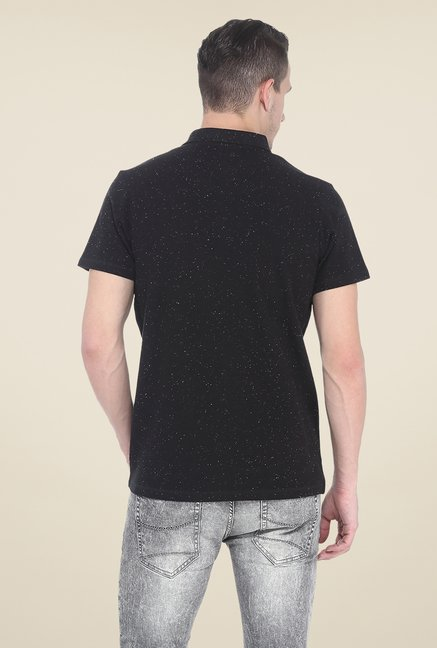 Basics Black Polo Printed T Shirt