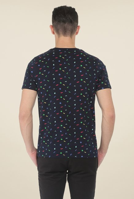 Basics Navy Printed Crew T Shirt