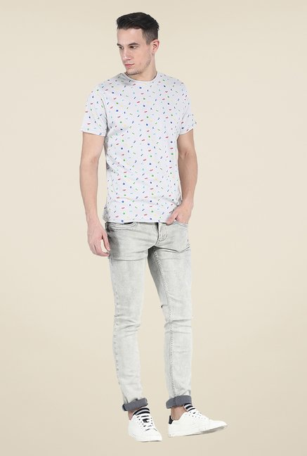 Basics Light Grey Printed Crew T Shirt