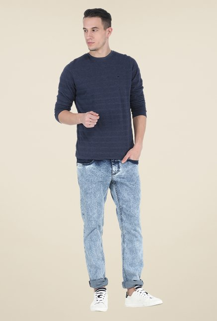 Basics Navy Striped Crew T Shirt