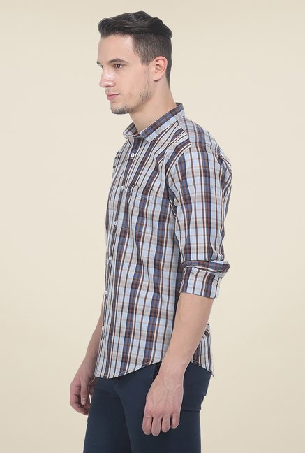 Basics Blue & Brown Checks Shirt