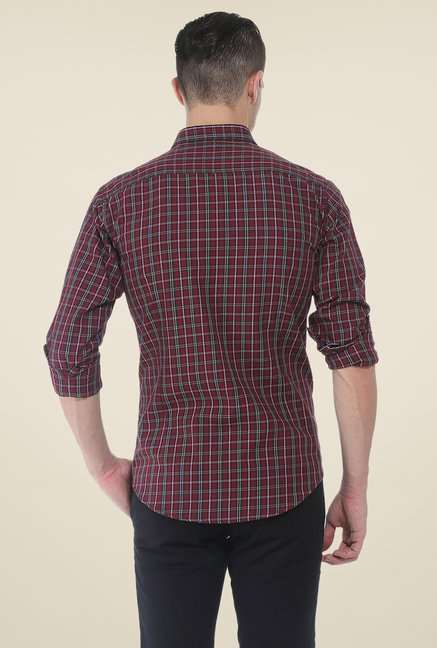 Basics Maroon Checks Full Sleeve Shirt