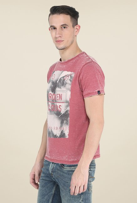 Basics Red Printed Crew T Shirt