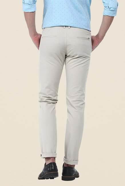 Basics Grey Solid Elastane Tapered Fit Chinos