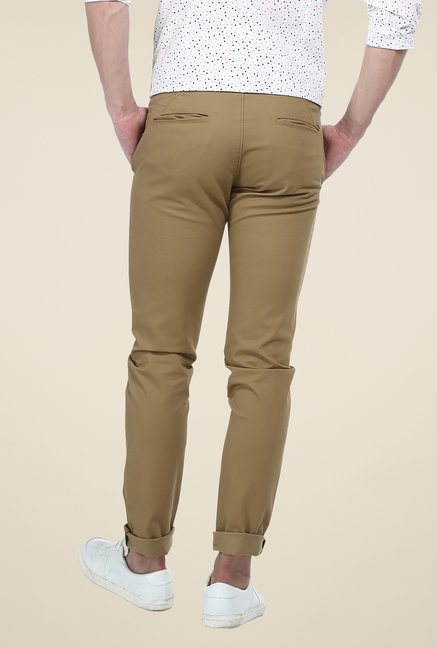 Basics Khaki Solid Elastane Tapered Fit Chinos