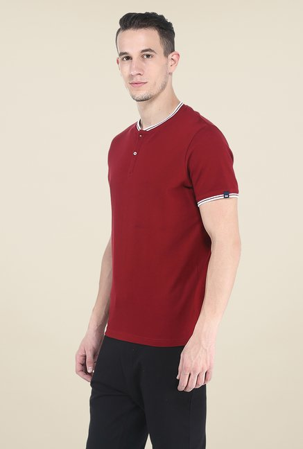 Basics Red Solid T Shirt
