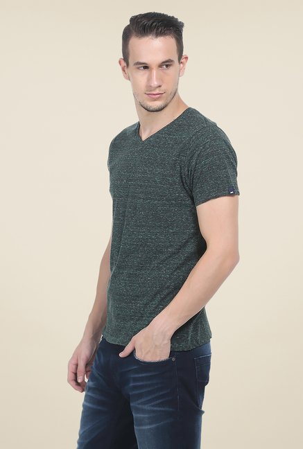 Basics Green Printed T Shirt