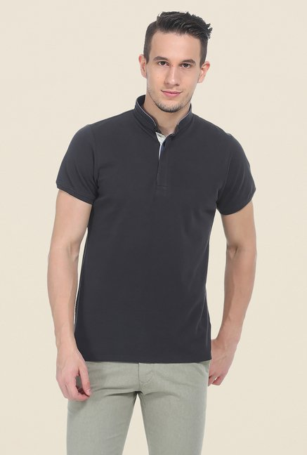 Basics Dark Grey Solid T Shirt