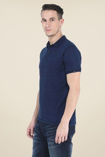 Basics Blue Polo Printed T Shirt