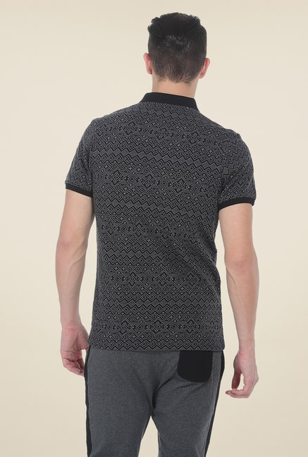 Basics Grey Polo Printed T Shirt
