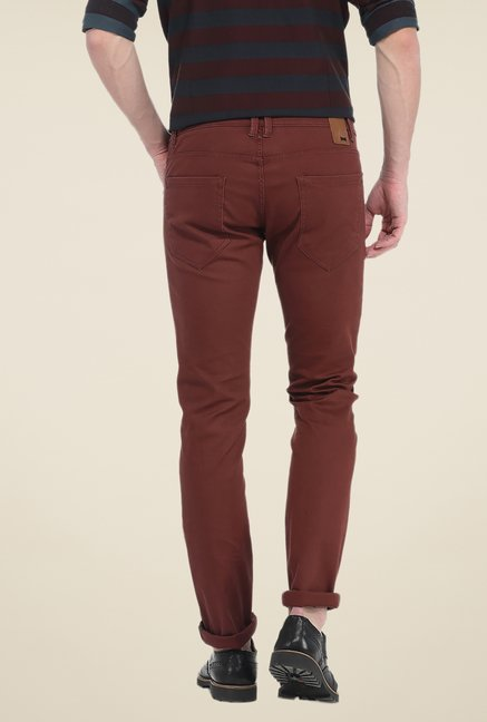 Basics Brown Solid Elastane Skinny Fit Chinos
