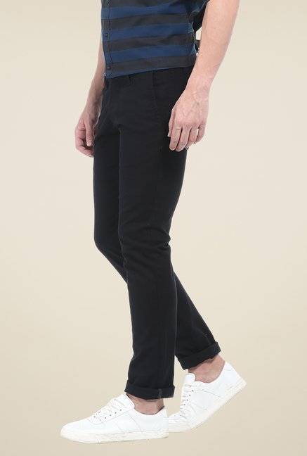 Basics Black Solid Elastane Skinny Fit Chinos