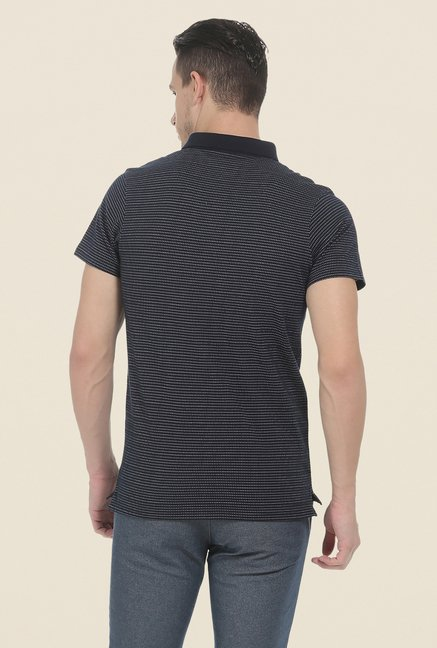 Basics Navy Polo Printed T Shirt