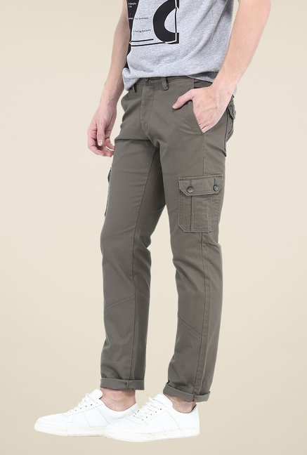 Basics Grey Herringbone Solid Cargos