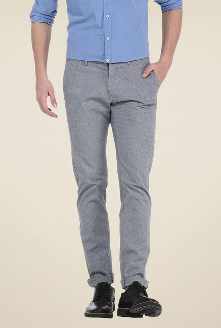 Basics Grey Textured Tapered chinos