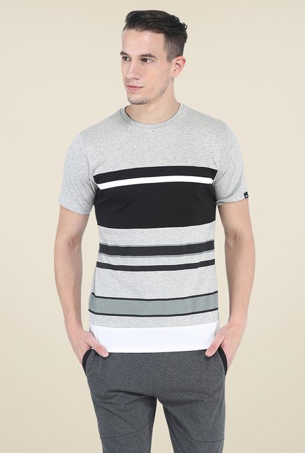 Basics Light Grey Striped Crew T Shirt