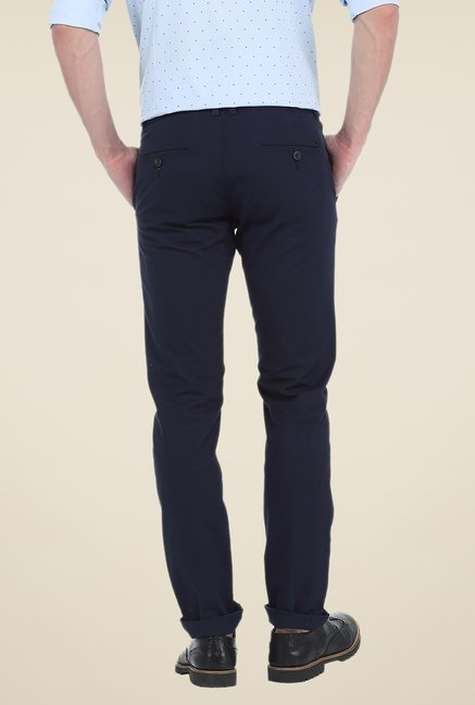 Basics Navy Solid Tapered chinos