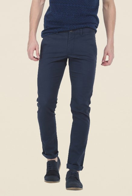 Basics Navy Textured Elastane Tapered Fit Chinos