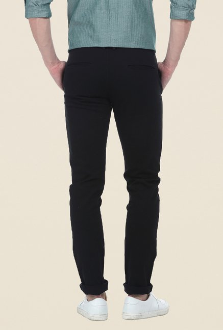 Basics Black Solid Elastane Tapered Fit Chinos