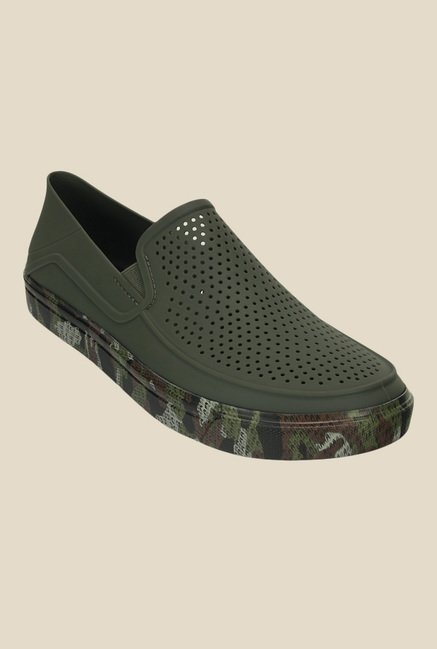 Crocs CitiLane Roka Army Green Slip-Ons
