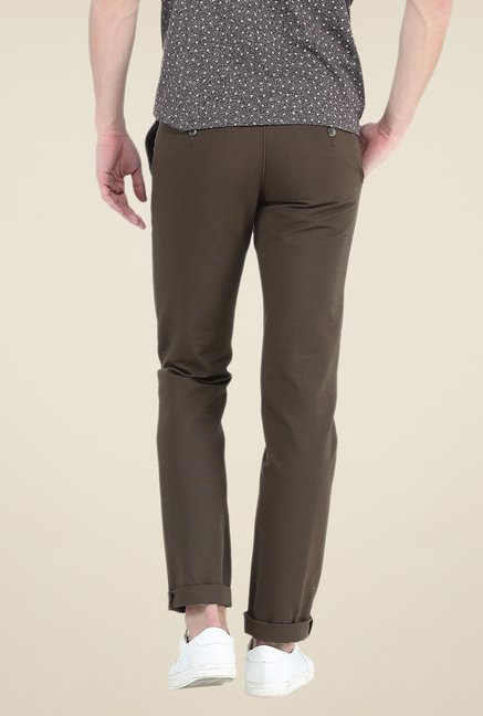 Basics Brown Solid Chinos