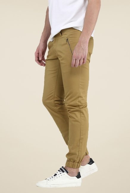 Basics Khaki Solid Elastane Tapered Fit Joggers