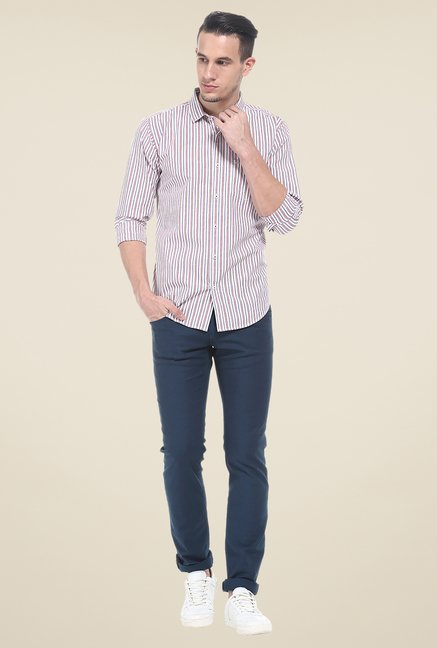 Basics Navy Striped Elastane Skinny Fit chinos
