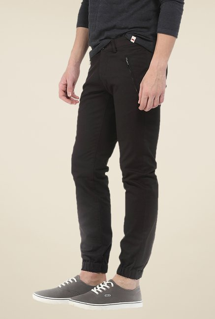 Basics Black Solid Tapered Fit Joggers