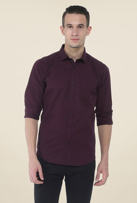 Basics Purple Solid Shirt