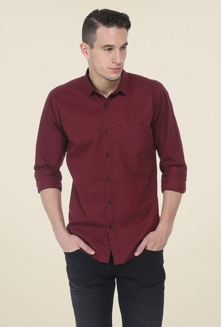 Basics Maroon Solid Shirt