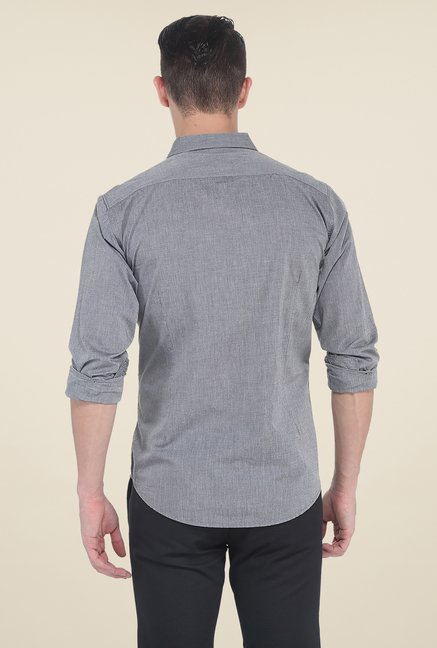Basics Grey Textured Slim Fit Cotton Shirt
