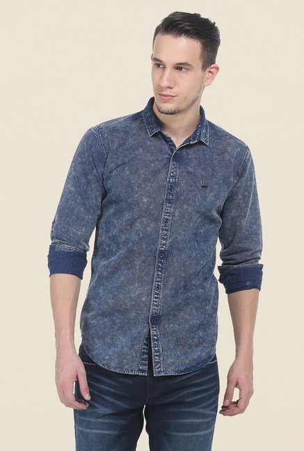 Basics Blue Textured Full Sleeve Shirt