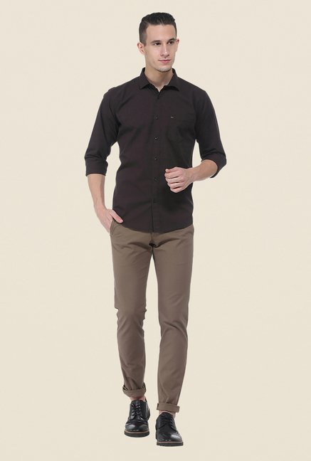 Basics Brown Solid Shirt
