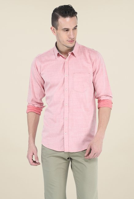 Basics Pink Solid Slim Fit Shirt